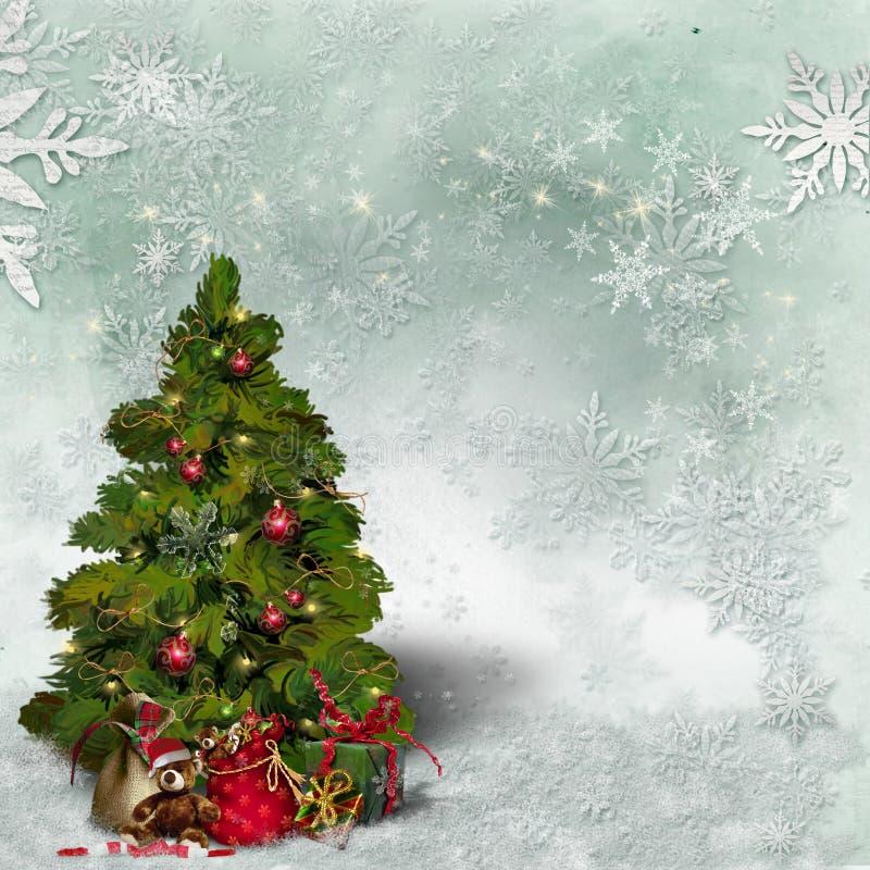 与一棵装饰的绿色圣诞树和雪花的圣诞卡片 免版税库存照片