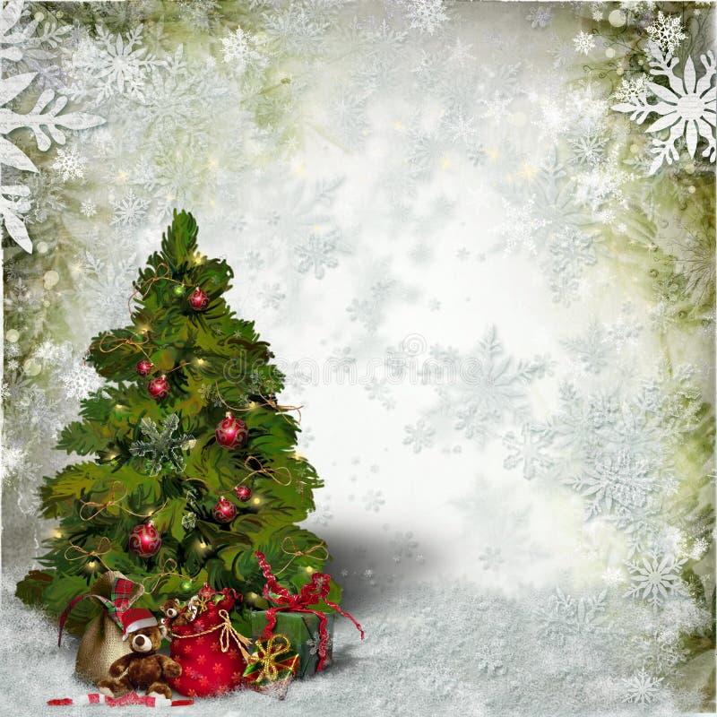 与一棵装饰的绿色圣诞树和雪花的圣诞卡片 库存图片