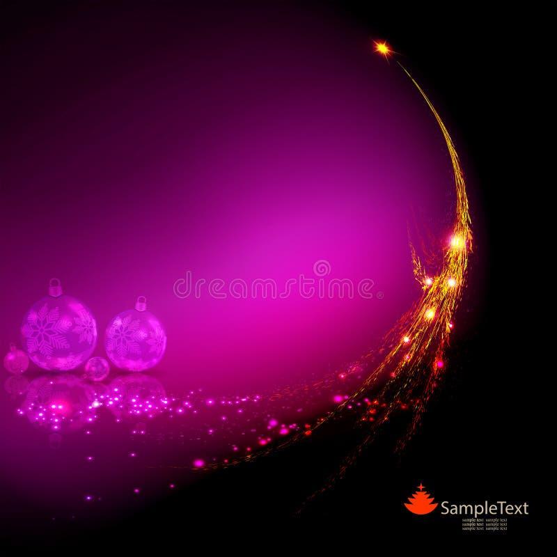 与一棵黄色抽象圣诞树的剪影的圣诞节背景和与雪花的透明玻璃球 向量例证