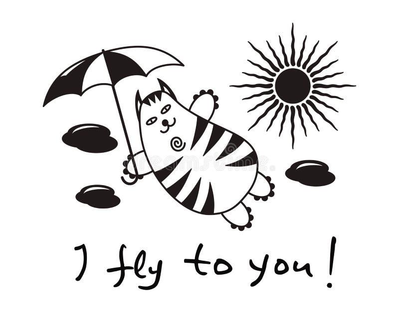 与一次伞飞行的动画片可笑的猫在云彩 文本–我飞行到您 库存例证
