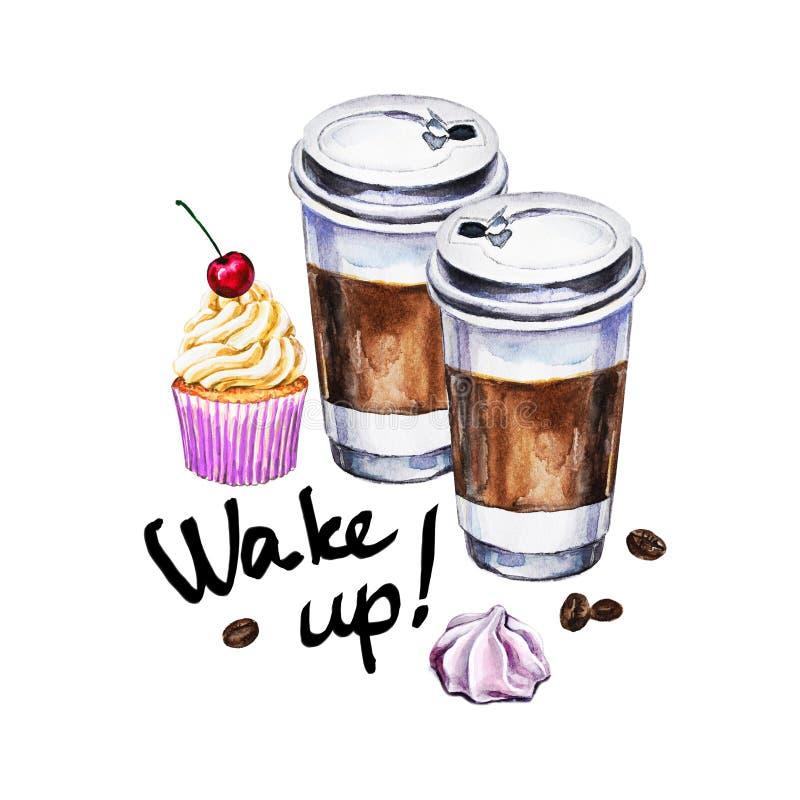 与一次性咖啡的水彩例证,杯形蛋糕 皇族释放例证