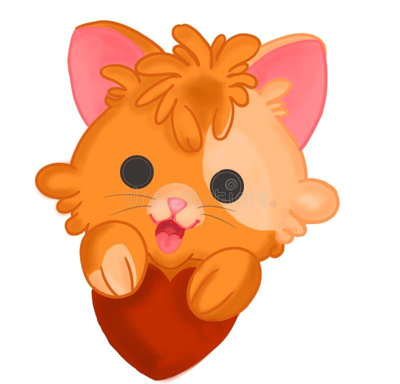 与一点心脏的小猫 库存例证