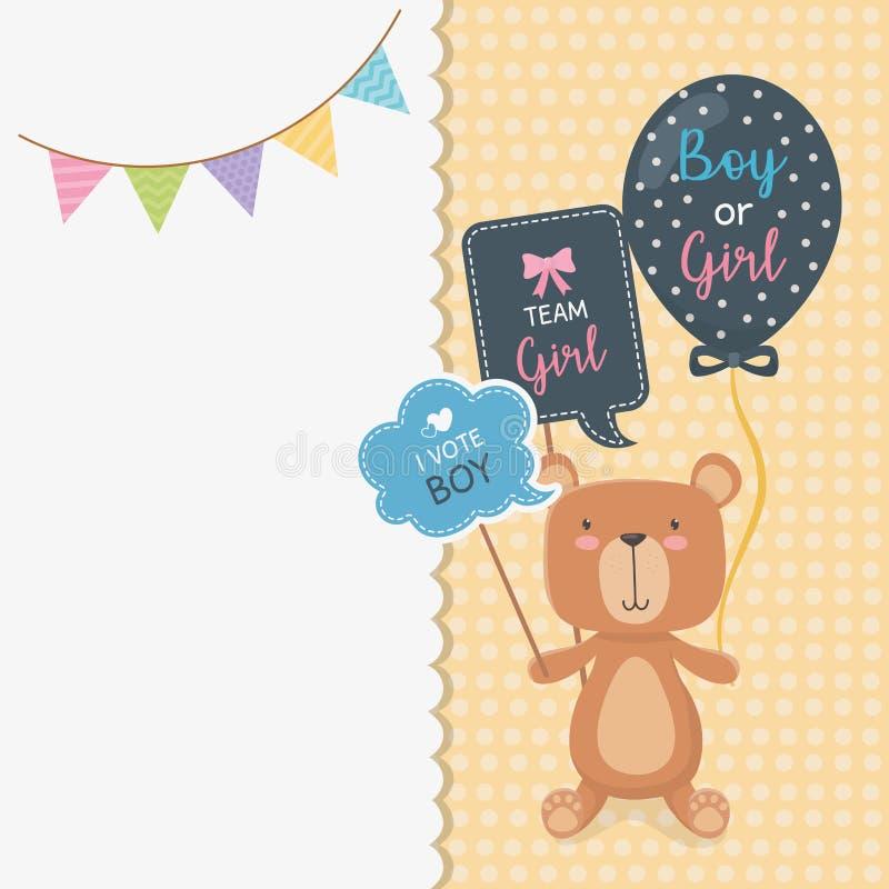 与一点熊女用连杉衬裤和气球氦气的婴儿送礼会卡片 库存例证