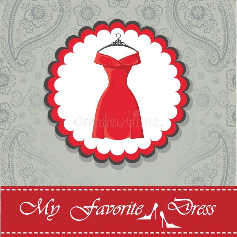 与一点红色礼服的标签 佩兹利鞋带背景 向量例证