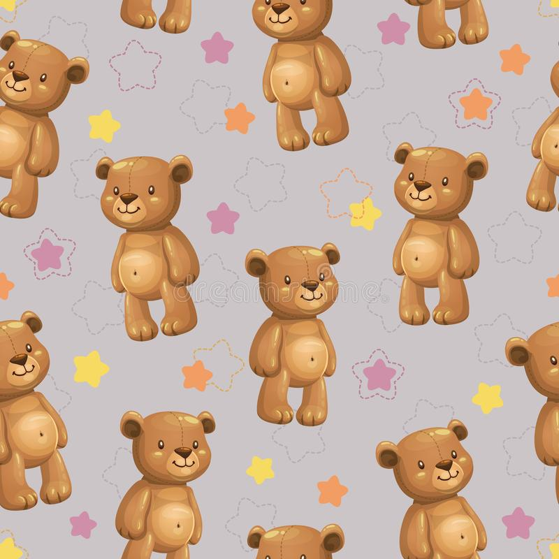 与一点逗人喜爱的动画片被充塞的熊玩具的无缝的样式 皇族释放例证