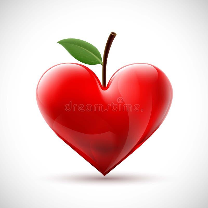 与一片叶子的红色人的心脏以莓果的形式 皇族释放例证