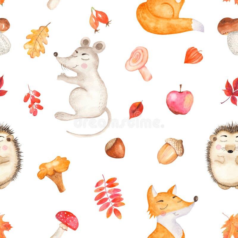与一片逗人喜爱的动画片老鼠、狐狸、猬和叶子的水彩无缝的样式 皇族释放例证