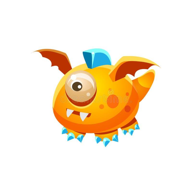 与一眼睛幻想虚构的妖怪收藏的橙色意想不到的友好的宠物龙 库存例证