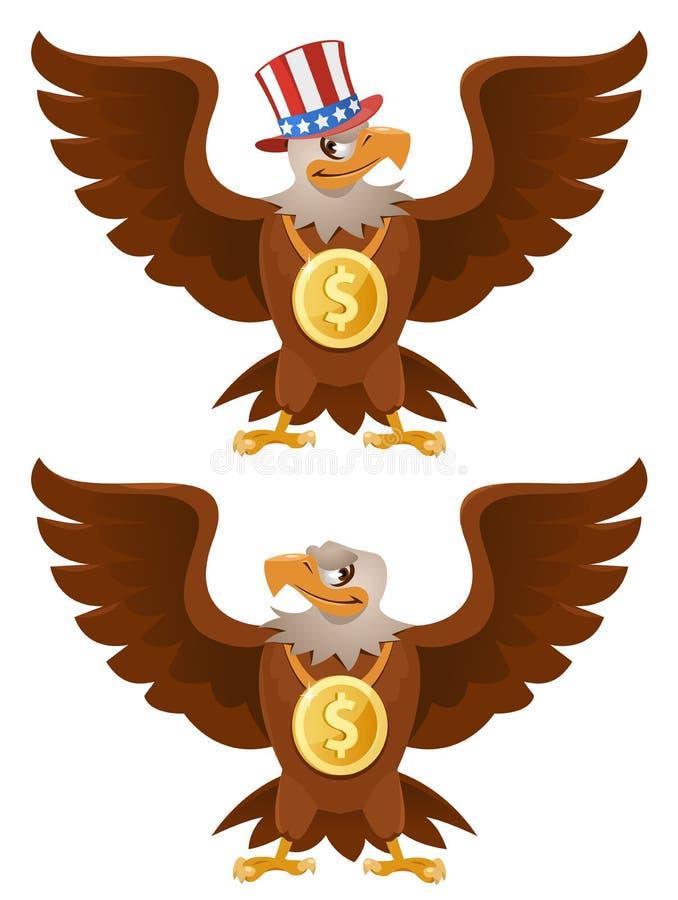 与一美元的美国老鹰在脖子 免版税库存图片