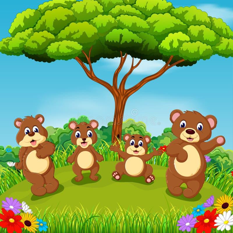与一起使用的小组的美丽的景色棕熊 向量例证