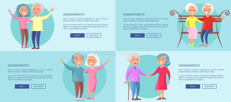 与一起成熟夫妇的祖父母海报 库存例证