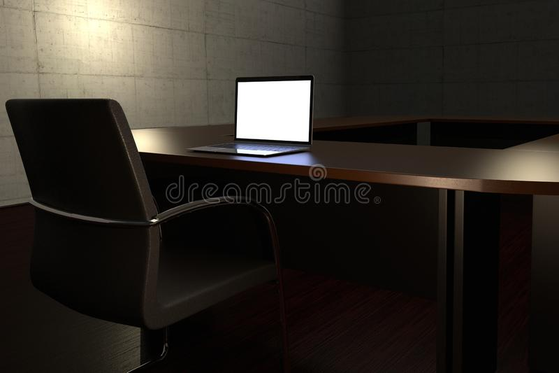 与一间空的会议室和膝上型计算机的运作的晚概念表示法 库存例证