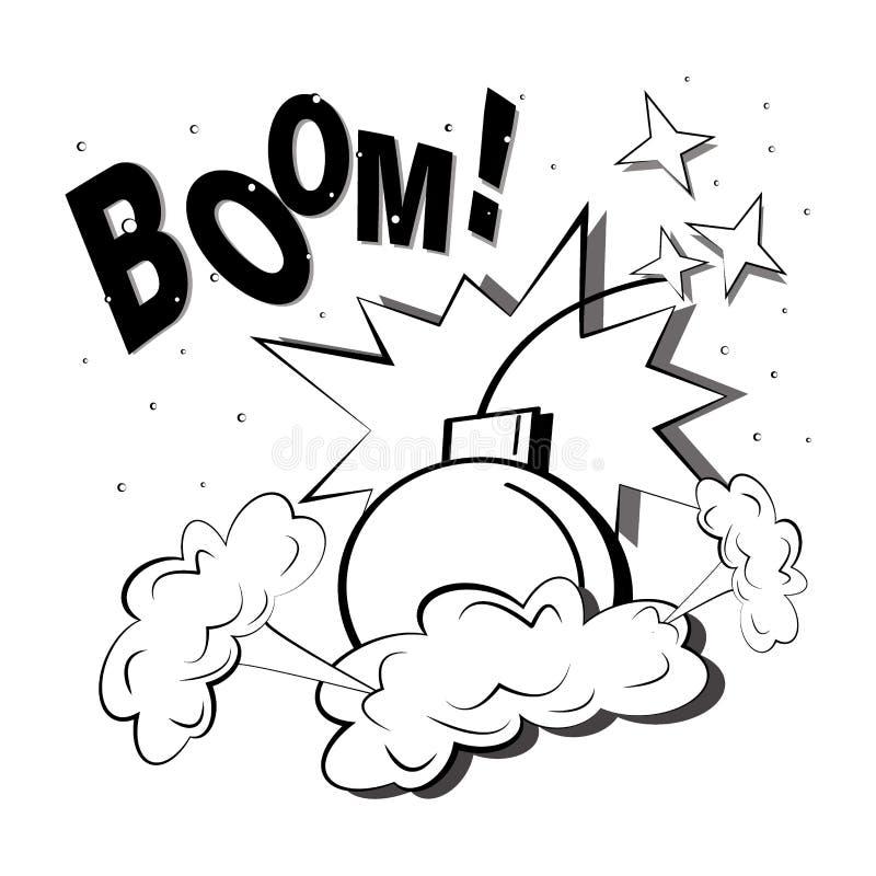 与一阵烟幕,火花,炸弹的漫画爆炸 与景气音响效果的流行艺术例证 向量例证