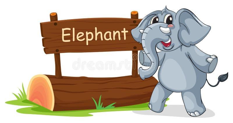 与一头灰色大象的一块木牌 皇族释放例证