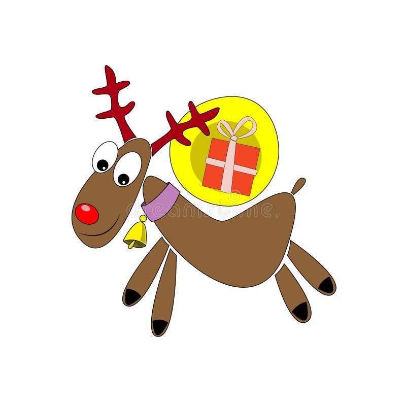 与一件礼物的鹿以一个可笑的例证的形式 画圣诞卡的 免版税库存照片