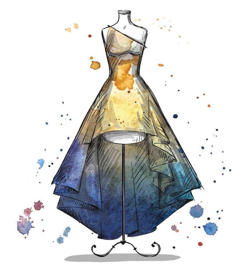 与一件长的礼服的时装模特 方式例证 库存例证