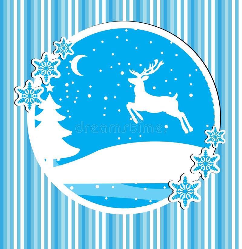 与一头鹿的新年快乐和圣诞快乐卡片在冬天森林,海报,邀请,飞行物里 也corel凹道例证向量 库存例证