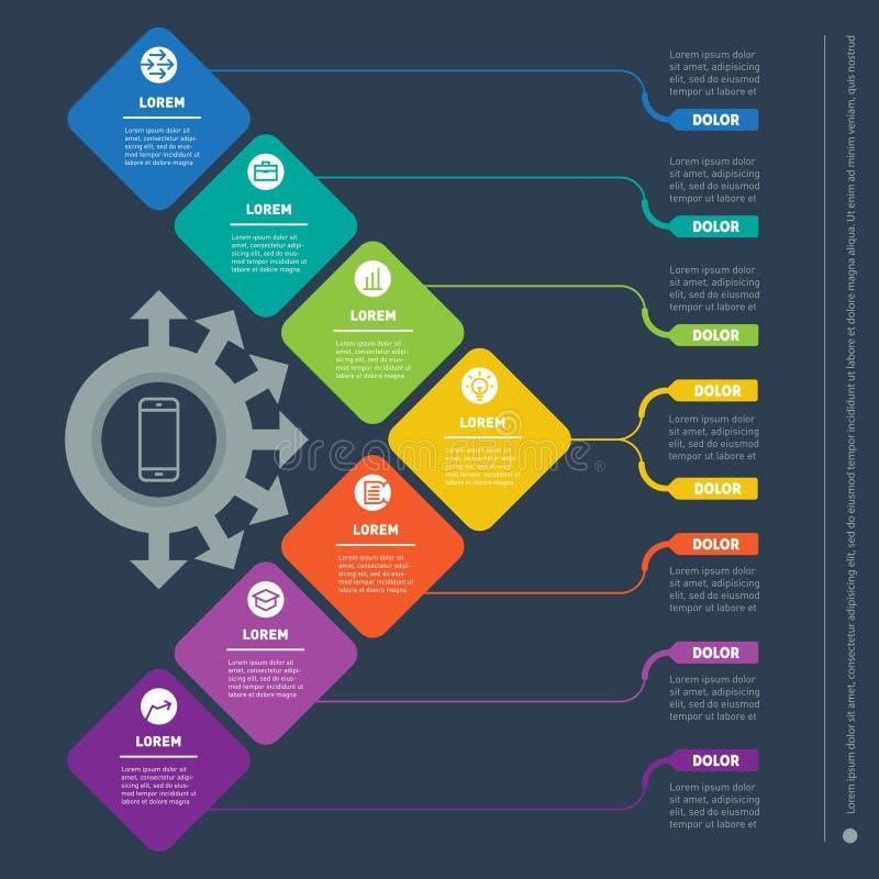 与七个选择的企业介绍 信息的网模板 皇族释放例证