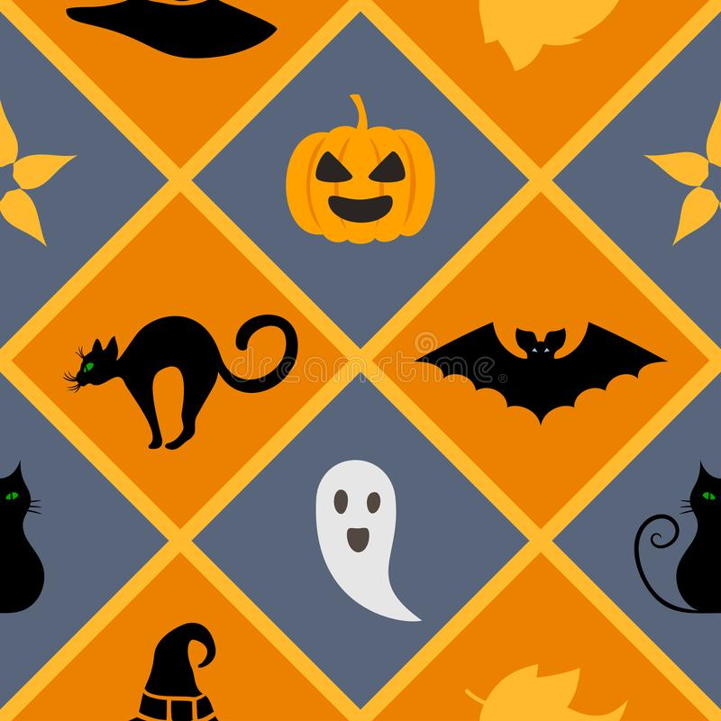 与万圣夜标志的无缝的几何样式:猫,帽子,棒,鬼魂,叶子,南瓜 库存例证