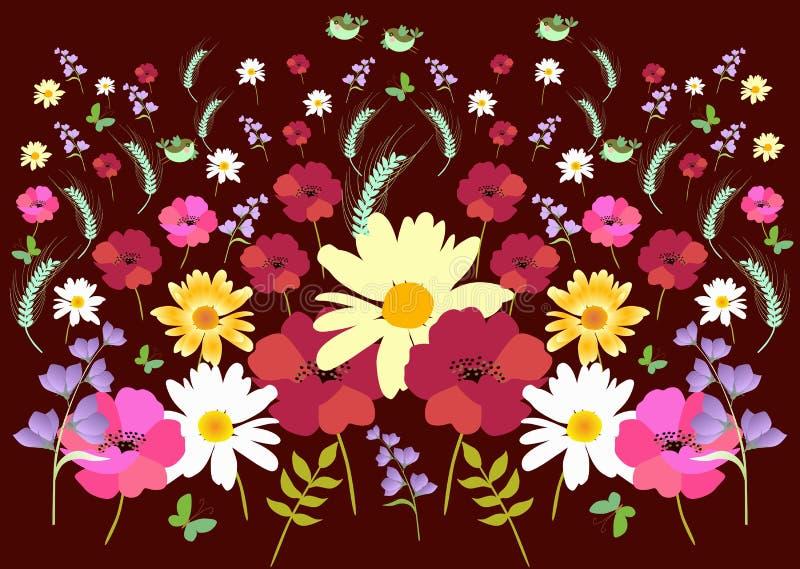 与万寿菊、鸦片、雏菊、吊钟花、蝴蝶和鸟的不尽的草甸样式在传染媒介的黑暗的背景 库存例证