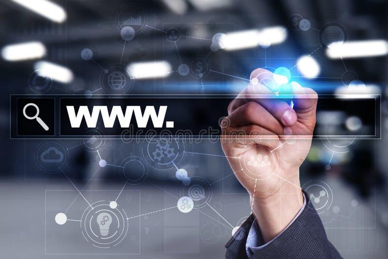 与万维网文本的查寻酒吧 网站, URL 数字式营销 背景蓝色颜色概念互联网 图库摄影