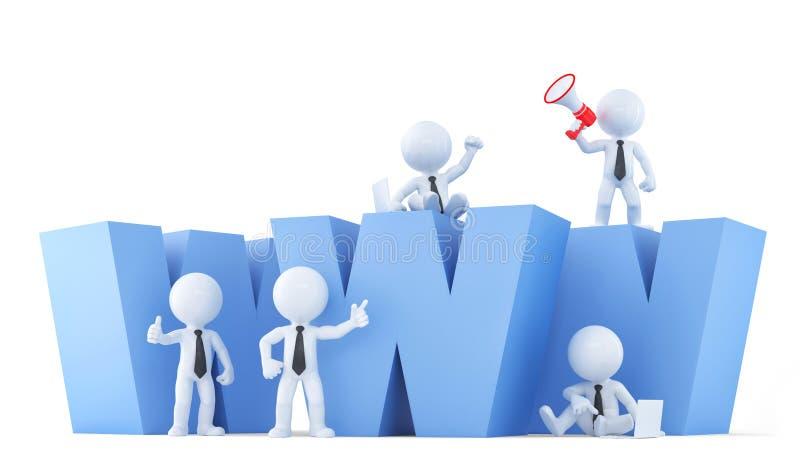 与万维网标志的企业队 包含裁减路线 向量例证