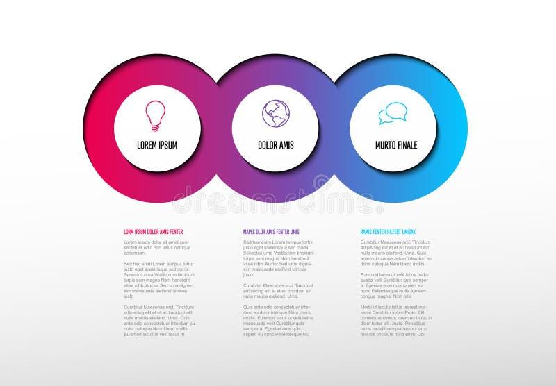 与三个元素的多用途Infographic模板 库存例证