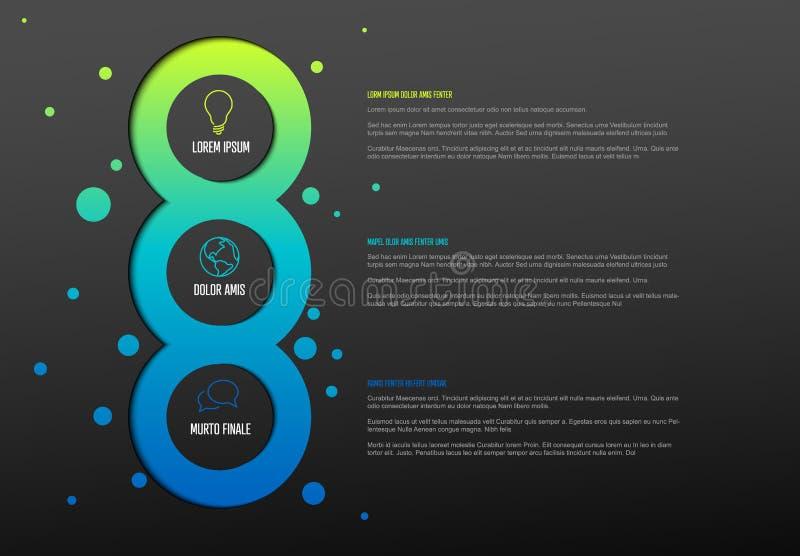 与三个元素的多用途Infographic模板 向量例证