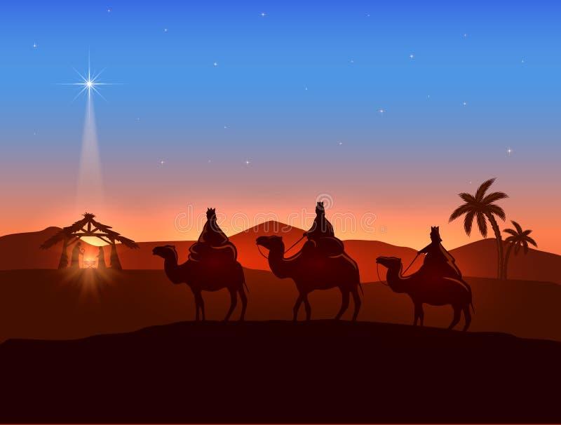 与三个圣人和光亮的星的圣诞节题材 库存例证