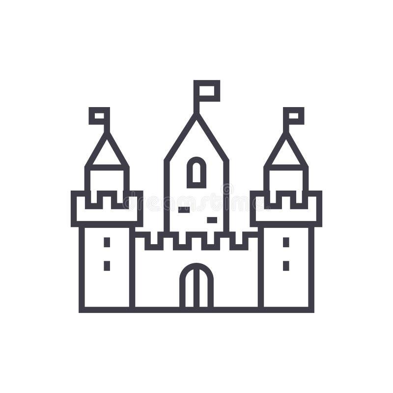 与三个塔的王国城堡导航线象,标志,在背景,编辑可能的冲程的例证 皇族释放例证