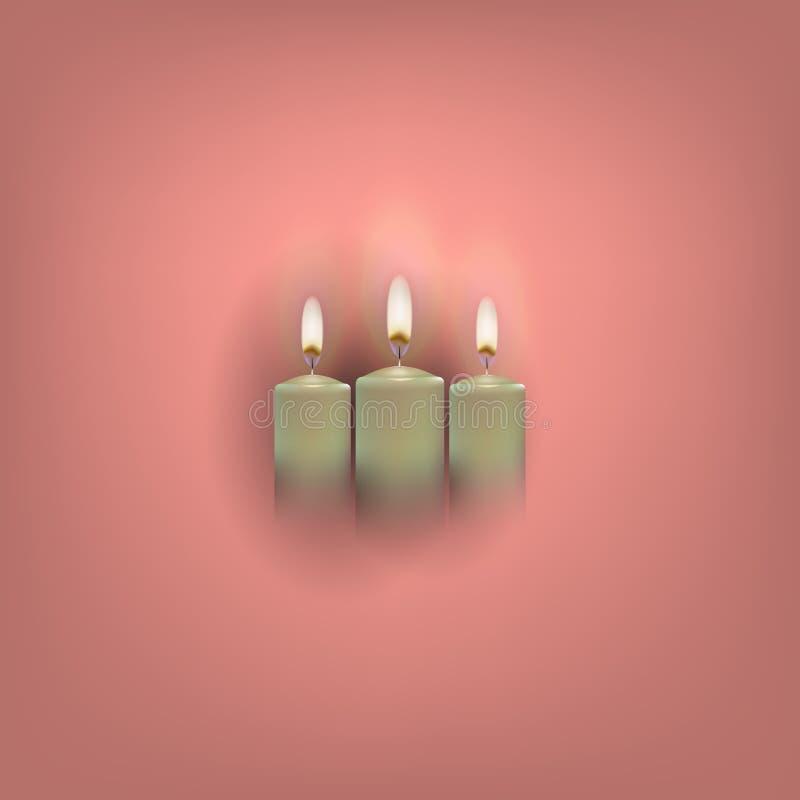 与三个明亮的灼烧的蜡烛的复活节构成,贺卡 向量例证