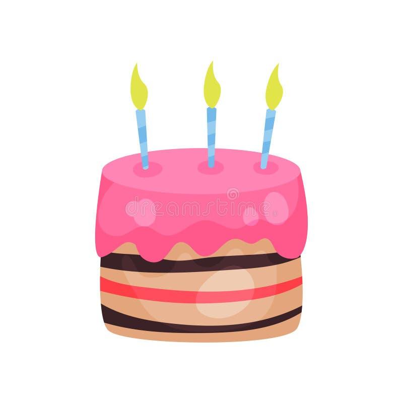 与三个灼烧的蜡烛的生日蛋糕 与桃红色釉的可口点心 卡片设计要素问候 动画片 皇族释放例证