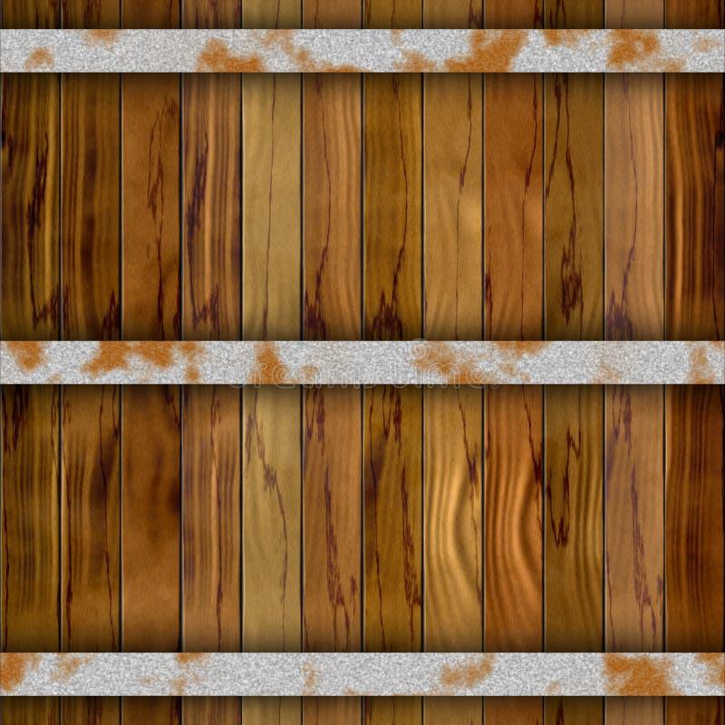 与三个生锈的金属箍的布朗桶木板条无缝的样式纹理背景 库存例证