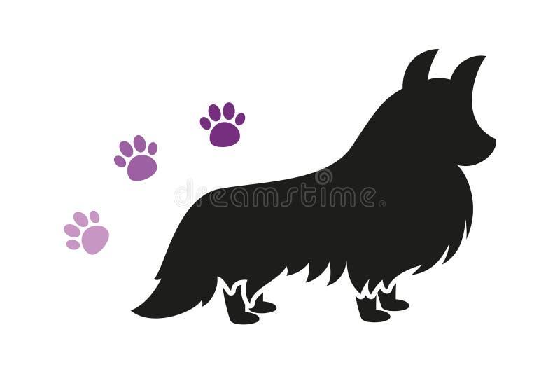 与三个紫罗兰色爪子印刷品的被隔绝的黑常设狗传染媒介剪影 库存例证