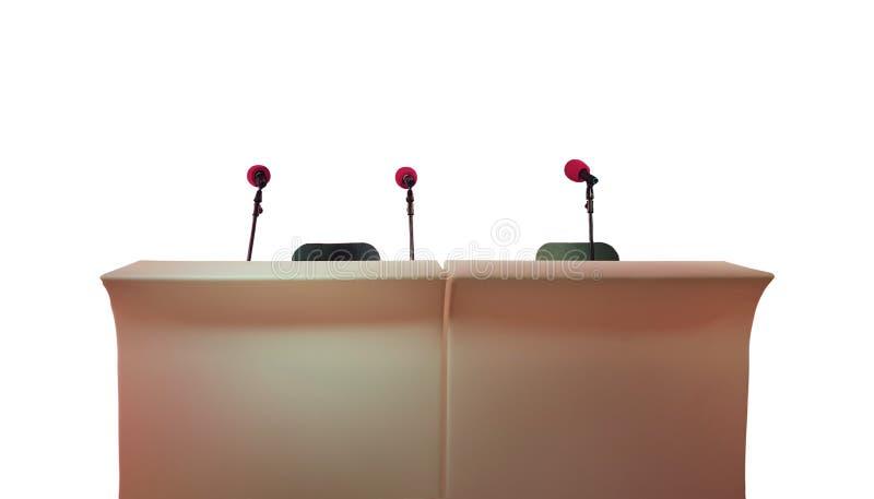 与三个话筒的立场新闻招待会的,采访,会议 免版税库存照片
