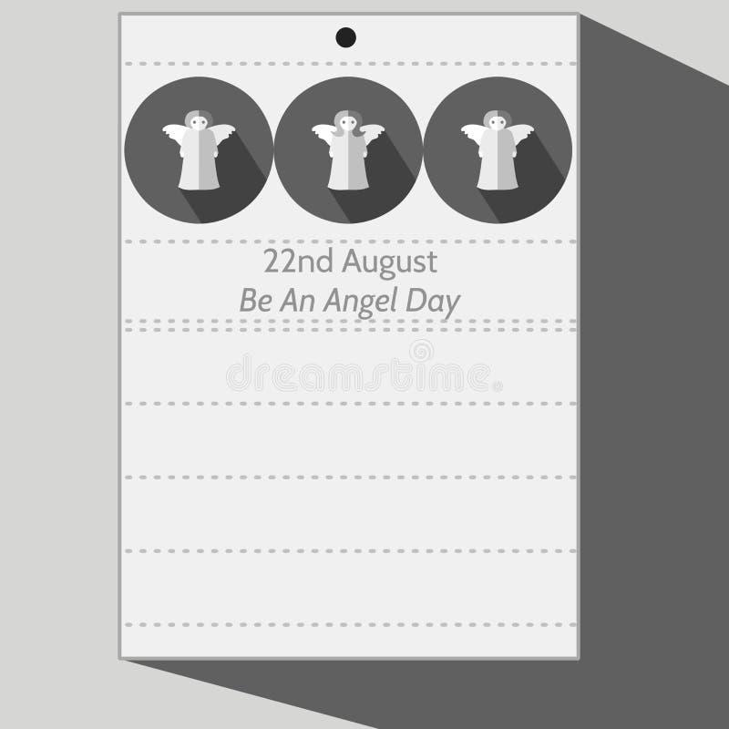 与三个风格化天使的一封日历信件 向量例证