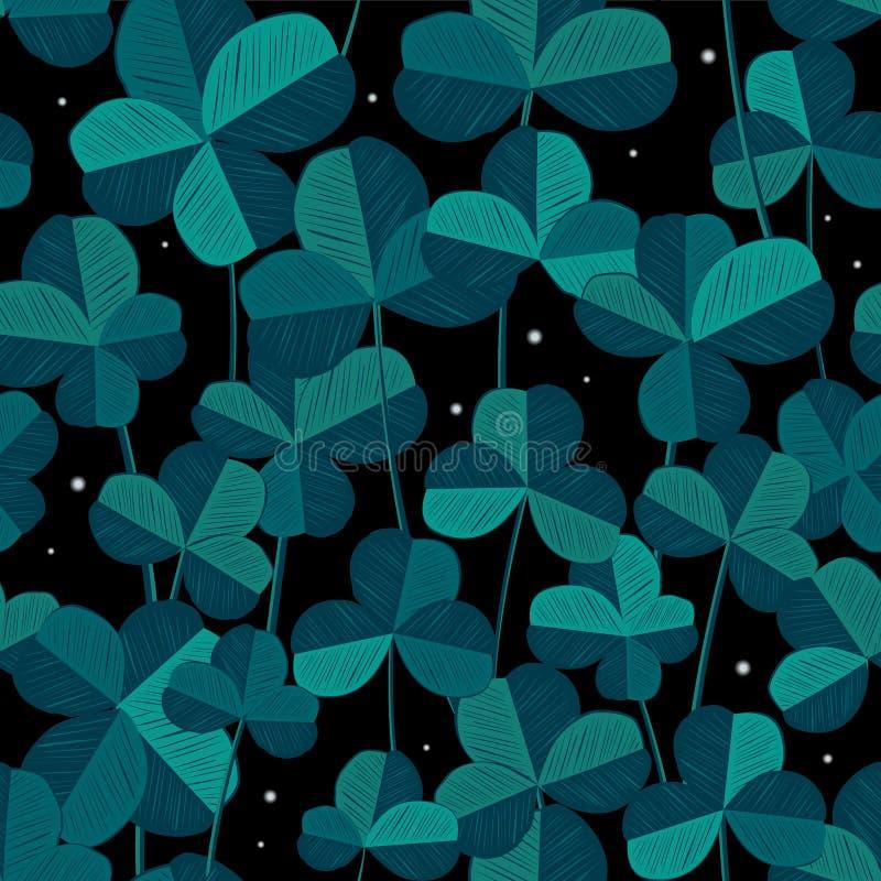 与三叶草叶子和彩色小灯的无缝的样式 向量 完善纺织品或圣徒帕特里克天装饰的,时髦bl设计 库存例证