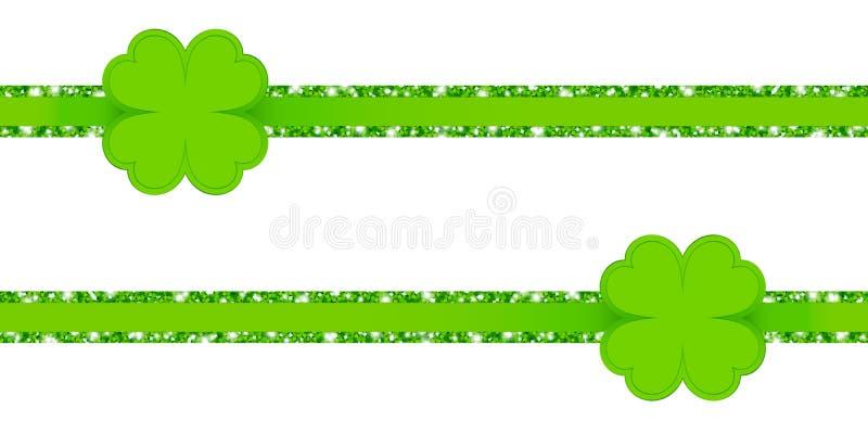 与三叶草叶子绿色的两条水平的闪烁丝带 库存例证
