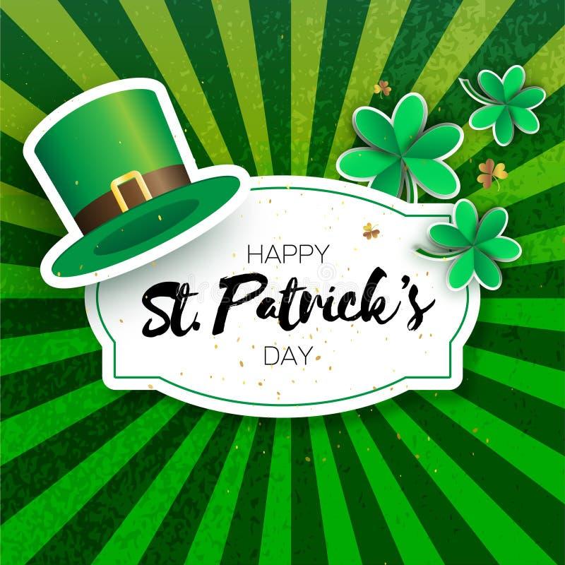 与三叶草和帽子的愉快的St Patricks天贺卡 Origami绿化与三的三叶草爱尔兰传统庆祝 向量例证