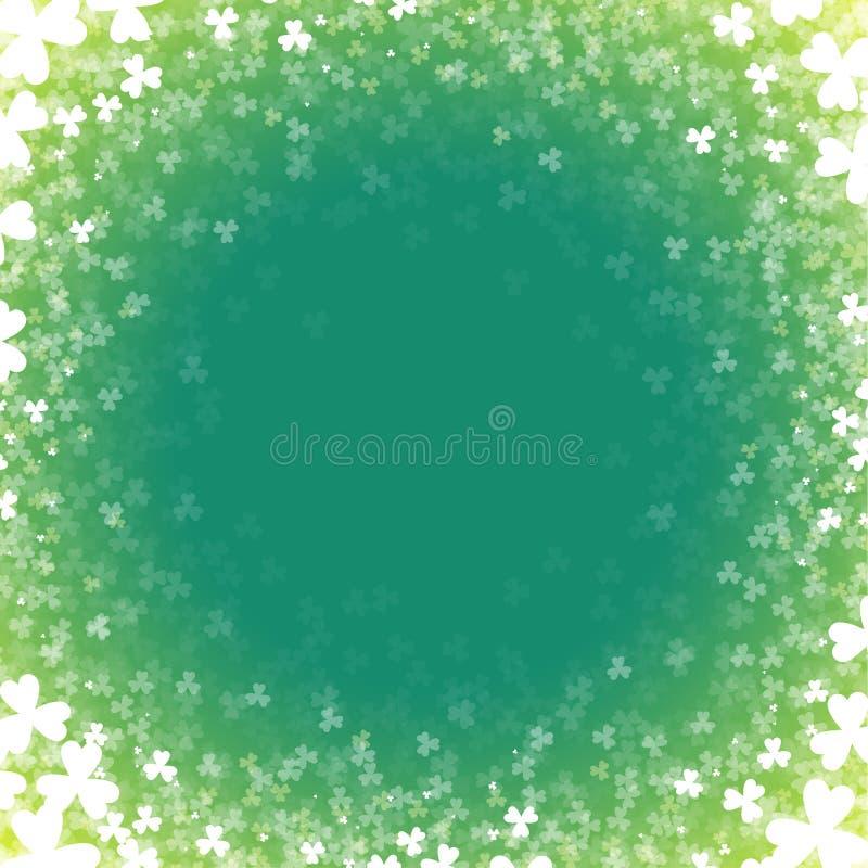 与三叶草的抽象背景 一张卡片为天帕特里克 库存例证
