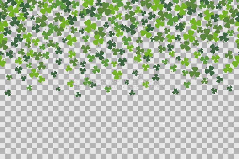 与三叶草的无缝的样式为圣Patricks在透明背景的天庆祝生叶 向量例证