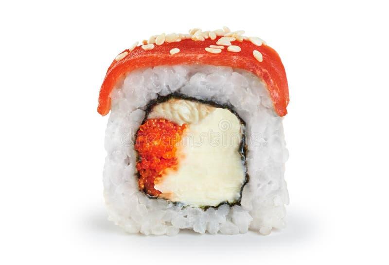 与三文鱼、鳗鱼、鱼子酱和费城乳酪的寿司卷 库存照片