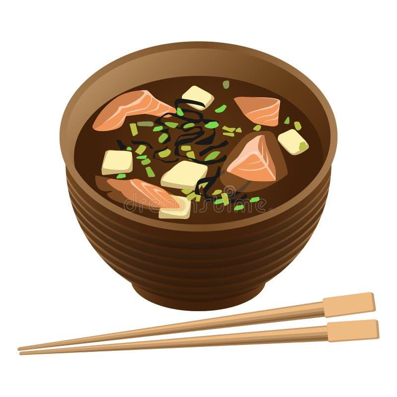 与三文鱼和豆腐的日本传统食物汤在碗 向量例证