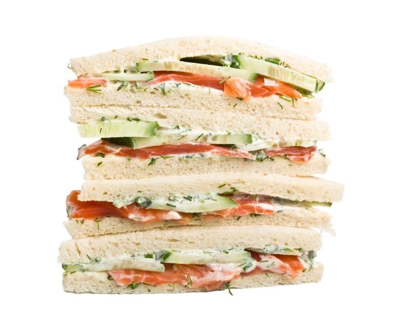 与三文鱼的三明治 免版税库存照片