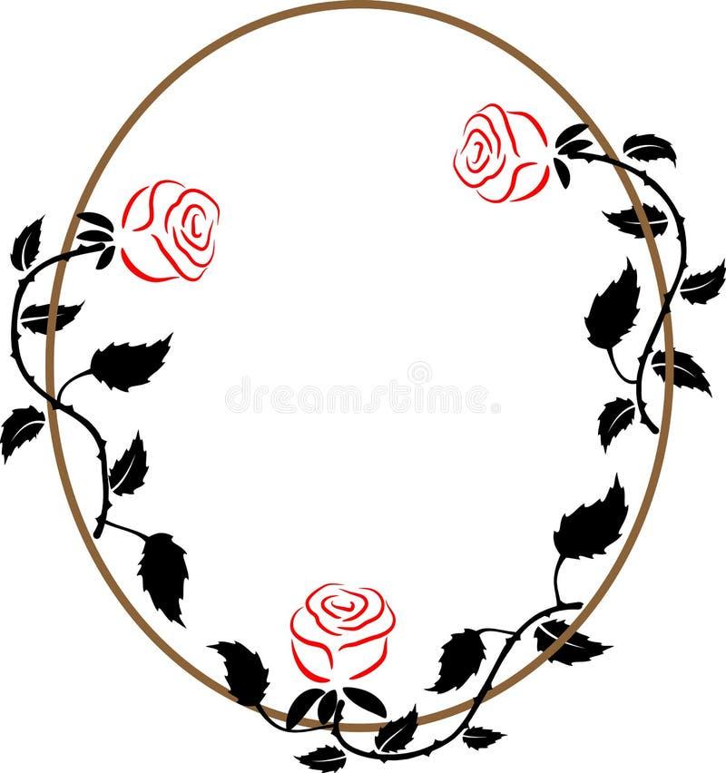 与三朵玫瑰的卵形框架 向量例证