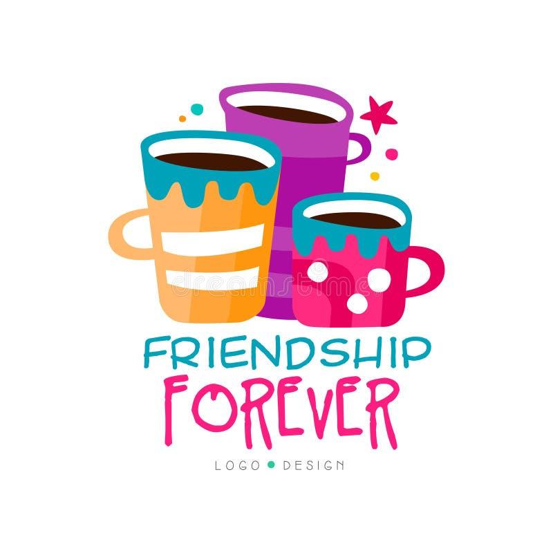 与三杯茶的原始的友谊商标模板和字法 兴趣俱乐部的抽象传染媒介设计 皇族释放例证