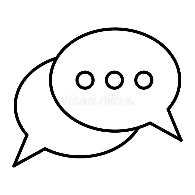 与三点的卵形讲话泡影变薄线象 在白色隔绝的消息例证 谈话概述样式设计 库存例证