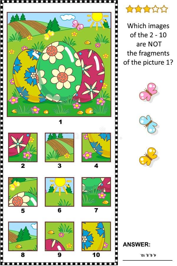 与三的复活节主题的图片谜语绘了鸡蛋-什么不属于? 向量例证