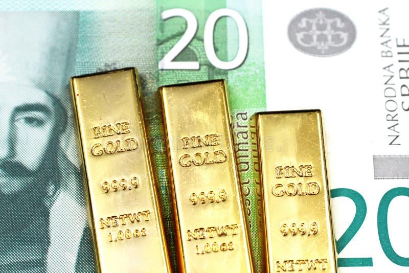 与三种金制马上的齿龈的二十塞尔维亚丁那钞票 图库摄影