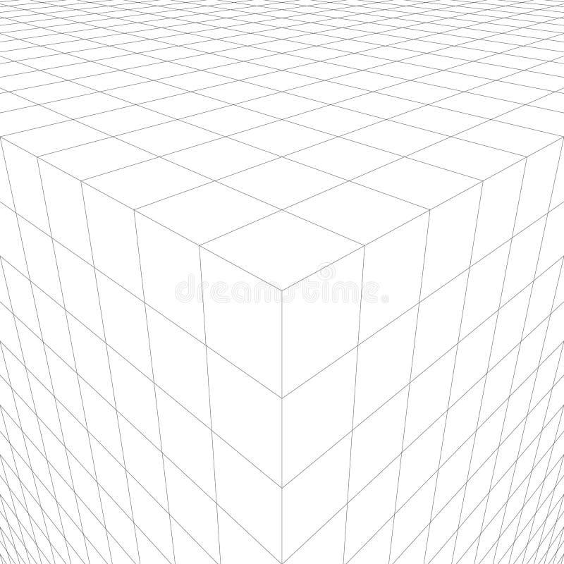 与三维立方体的抽象背景 透视线  库存例证